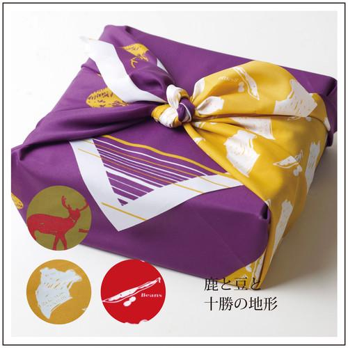 十勝柄ラッピング風呂敷(鹿と豆/紫)