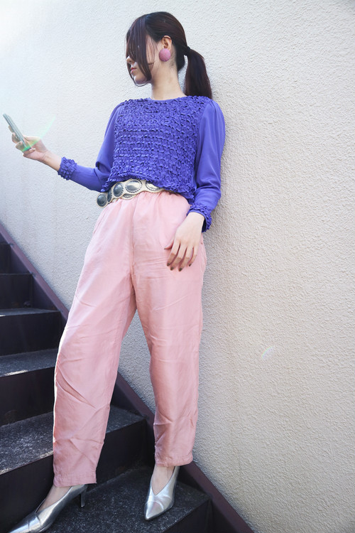 Purple frill blouse