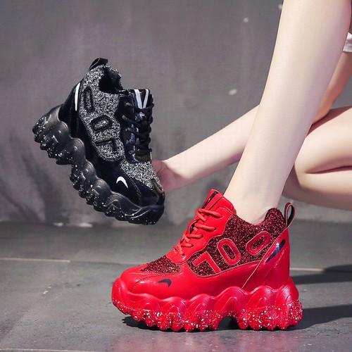 ダットスニーカー レースアップ ヒール7cm 厚底 22.0〜24.5cm 韓国ファッション レディース 厚底スニーカー 歩きやすい カジュアル スポーツ 613476471817