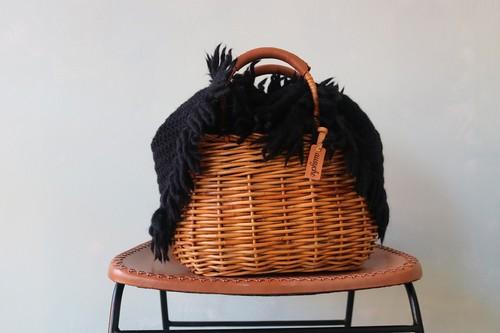 アシュケ カゴバッグ wool ratan ブラック