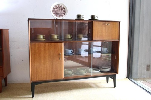 50年代 イギリス Nathan製 カップボード サイドボード 本棚 食器棚