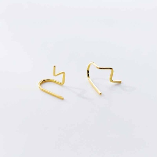 Dainty Wave Line Huggies Earrings in Sterling Silver