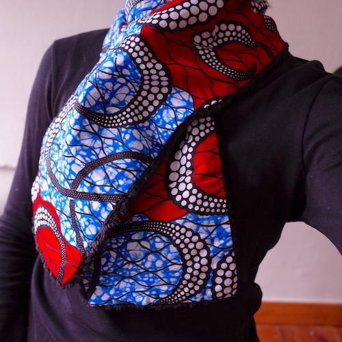 アフリカンプリント ネックウォーマー red blue