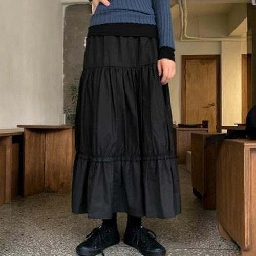 ティアードスカート Aラインスカート カジュアルガーリー キュート フェミニン シンプル 無地 ソリッドカラー アプリコット/ブラック/ベージュ