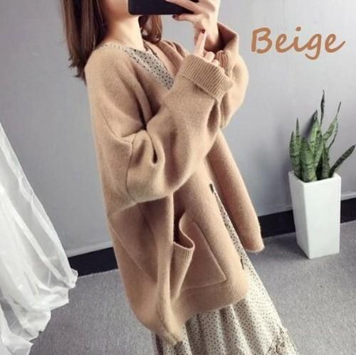 【注文商品】【アパレル】Korean Style Long Sleeve Knit Sweater Cardigan【Beige】