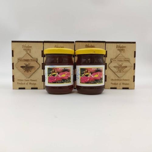 ブータン産はちみつ Pure Happy Honeyセット (ホワイトクローバー &ピンクのそばの花) 100g 各2瓶セット