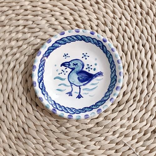 マヨリカ焼き 丸皿(小) ウミネコとロープ