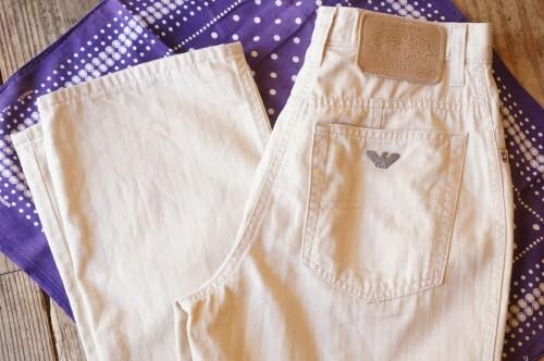 80's ARMANI JEANS beige hi-waist Pants