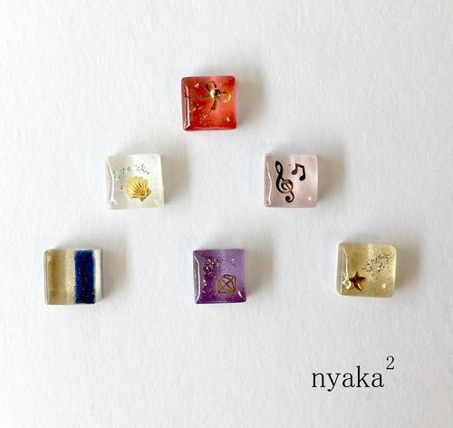 【プチデコ】色々ガラスタイル ピアス/イヤリング/ヘアピン/リング
