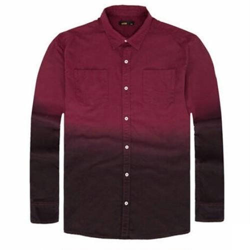 送料無料メンズ/大きいサイズ/バイカラーグラデーション/長袖シャツ