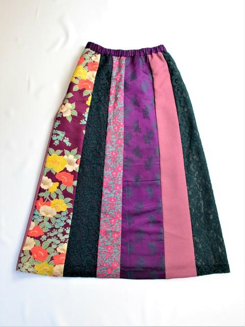 ●着物地とレースのスカート:紫と緑 花模様(椿柄・小花柄・レース)/着物リメイク/国内送料無料/1903s01