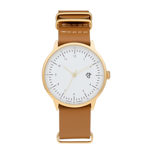 HAROLD GOLD【CHPO】 White dial. Brown leather strap