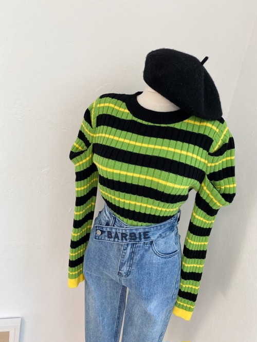 カラーボーダーパフニット ニット セーター 韓国ファッション
