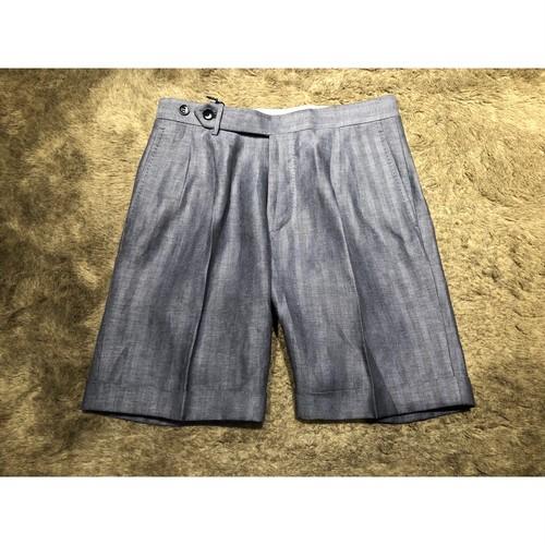 ROTA ヘリンボーン linen shorts NAVY