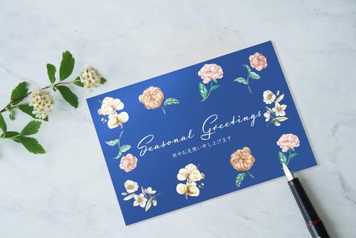 和風ボタニカル 花模様の寒中見舞い 2019/ 切手付きはがき 7枚セット