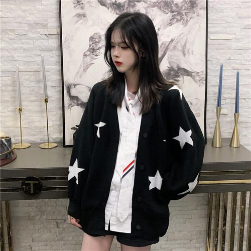 【アウター】配色カジュアルシングルブレストカーディガン24490380