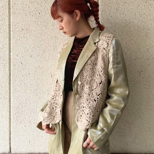 (LOOK) flower embroidery knit vest