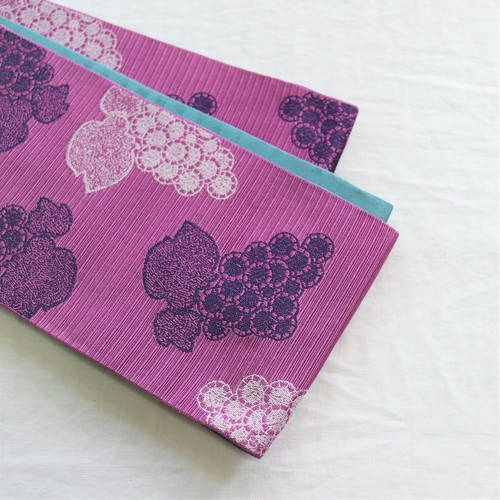 【半巾帯】葡萄 / 若紫色 ロングサイズ4.4m