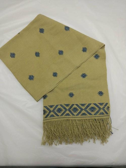 GBJWブータン産ストール18007 Indigo Wild silk(野蚕) 80% Cotton 20%