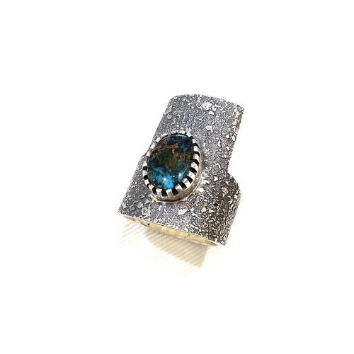 WHEEL WORKS ホイールワークス Apache Blue Turquoise Ring Texture TufaCast アパッチブルー ターコイズ テクスチャトゥファキャストリング SILVER950  インディアンジュエリー