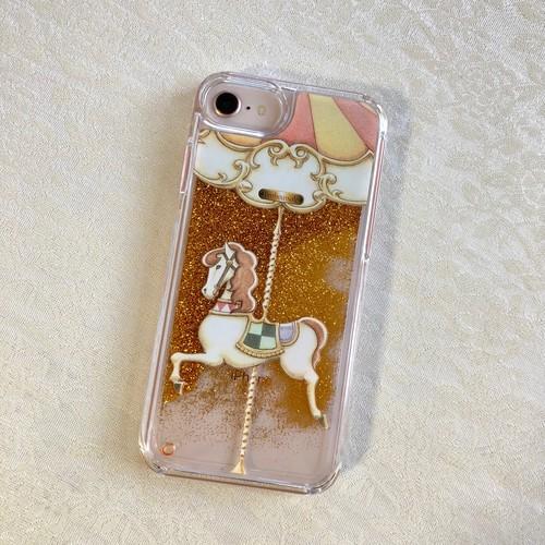 [iPhone6/6s/7/8/X/XS受注生産]【ゴールドグリッター】カルーセル柄スマホケース