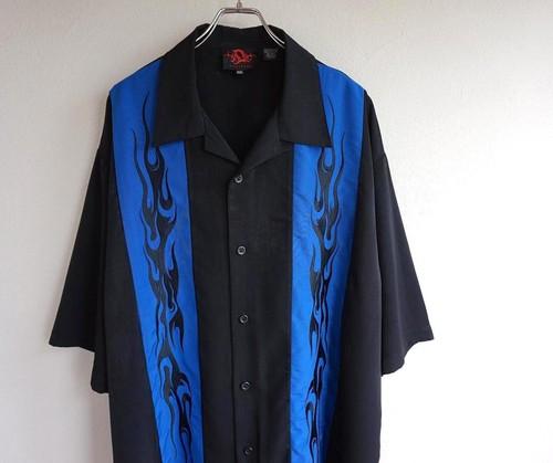 2000's ファイヤーパターン刺繍 チカーノシャツ ブラック×ブルー 表記(XXL)