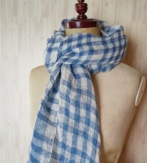 草木染め 藍染めリネン 手織りプチ大判ストール