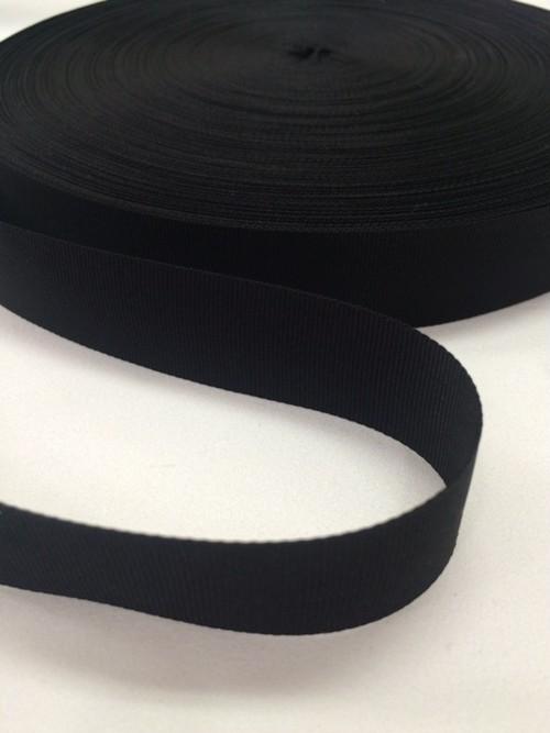 ナイロン 平織(グログラン)22mm幅 黒 5m