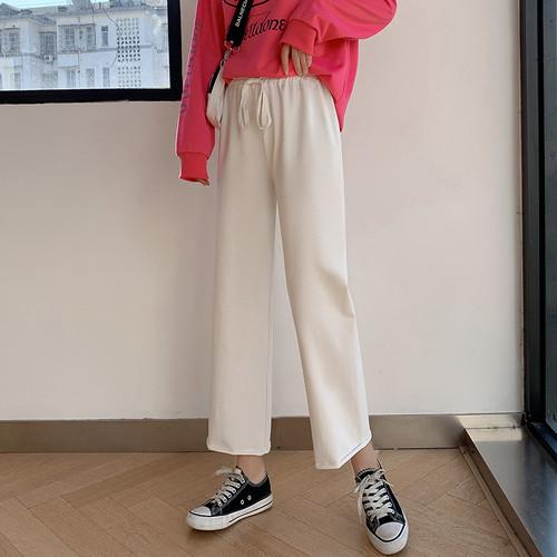 【ボトムス】合わせやすいレギュラーウエストファッション9分丈 カジュアルパンツ