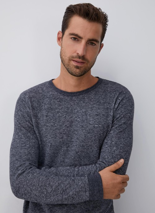 MOTTLED SWEATER WITH CREW COLLAR