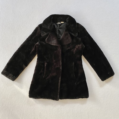 black eco fur coat