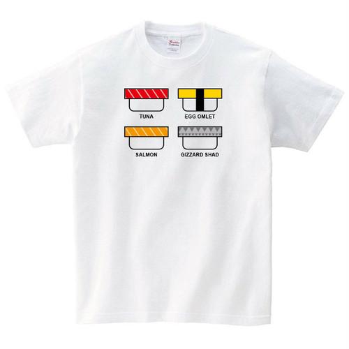 4貫の寿司 Tシャツ メンズ レディース 半袖 マグロ サーモン ゆったり トップス 白 30代 40代 ペアルック プレゼント 大きいサイズ 綿100% 160 S M L XL