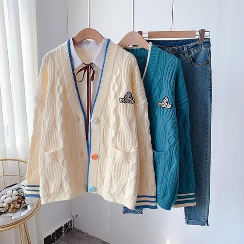 【セーター】ブラウスカラーボタン ゆったり 爽やか キュート アンサンブル 秋冬