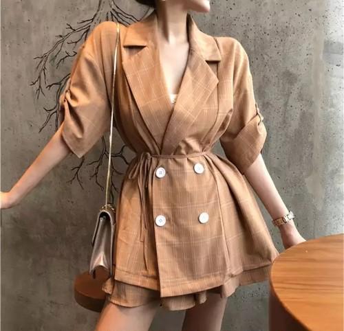 【送料無料】チェック柄 セットアップ スーツ ジャケット ホワイト ブラック オレンジ 茶色 白 黒 レトロ ヴィンテージ