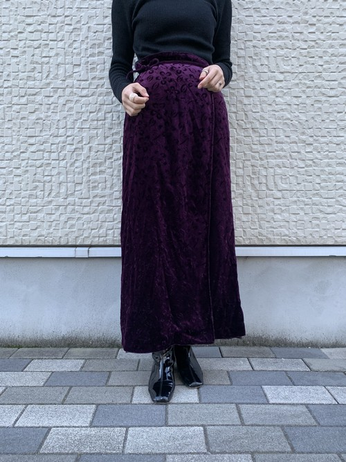 (TOYO) velours wrap skirt