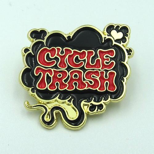 "Cycle Trash ""Fart"" logo pin badge, LTD:BLK-RED"