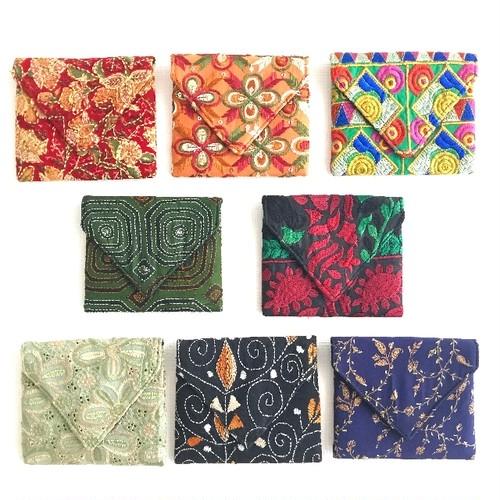 カッチ刺繍 ポーチ ミニ 【フェアトレード商品】【アップサイクル商品】