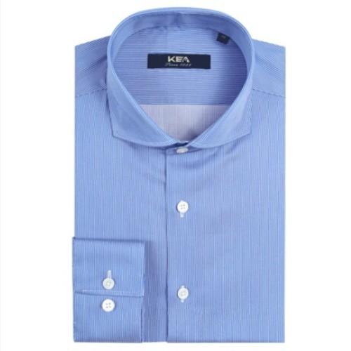 送料無料メンズ/青/超長綿/ビジネス/ストライプ/ホリゾンタルカラーワイシャツ