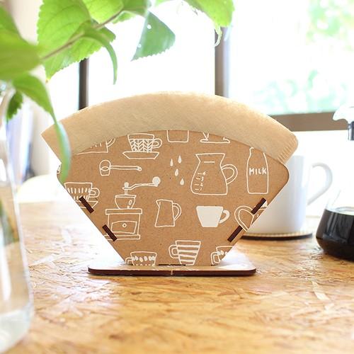 組み立て式!コーヒーフィルタースタンド【コーヒーアイテム柄(白)】