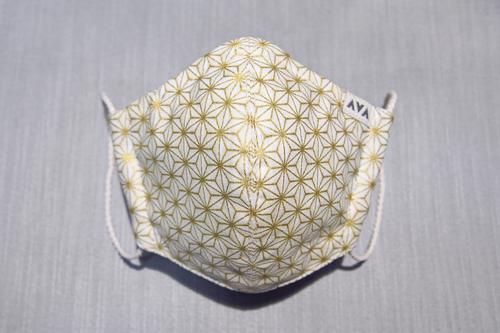 金の麻柄マスク(内側ヘンプ)
