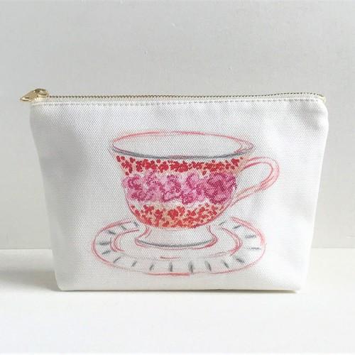 ガーデナーズ ティーパーティー  マチ付きポーチ カップ&ソーサー柄 ピンク