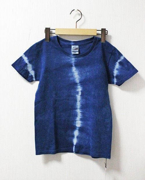 藍染め半袖 綿Tシャツ S(AHT-8)