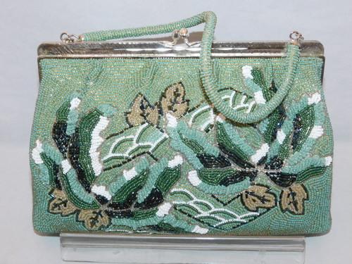 薄緑ビーズビィンテージバック light green color bead vintage bag (made in Japan)(No42)