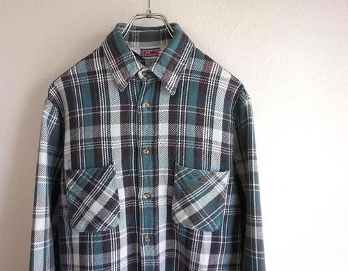 1980's [BIG MAC] ヘヴィーネルシャツ グリーン×グレー 表記(M) ビッグマック