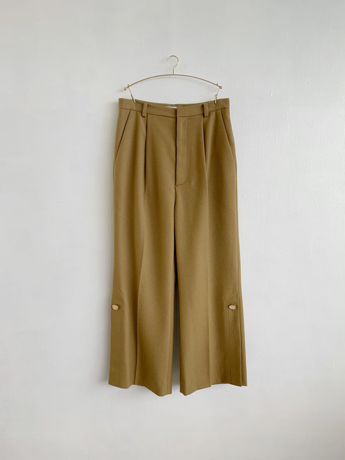 MURRAL  hem slit trousers with antique shell biuttons