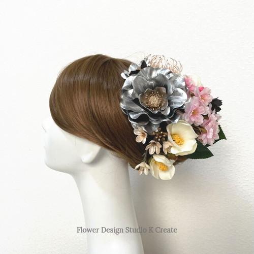 和装婚・成人式に♡シルバーのアネモネと桜のヘッドドレス(15本セット) 椿 卒業袴 結婚式 成人式