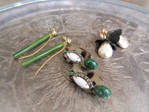 vintage pierced earrings leopard <PE-lpL>