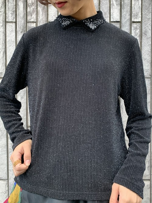 (TOYO) lame design knit tops