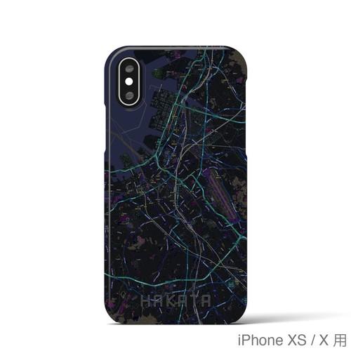 【博多】地図柄iPhoneケース(バックカバータイプ・ブラック)