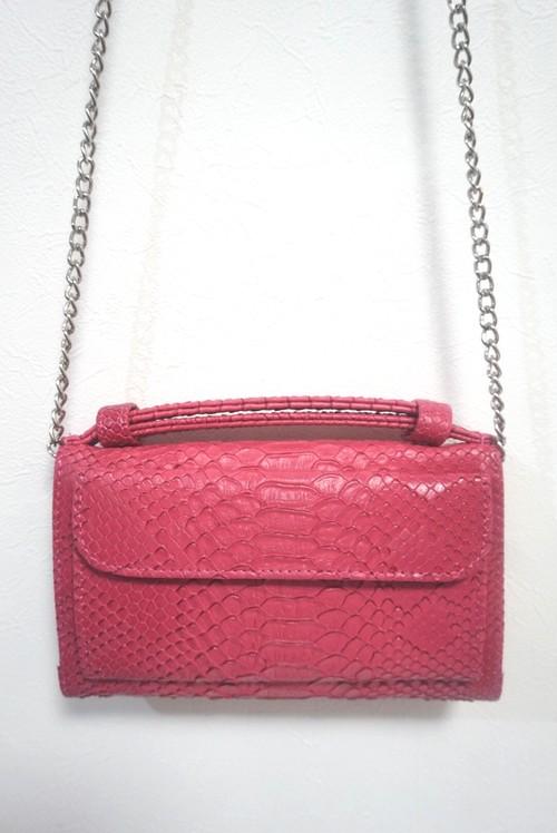 【 お取り寄せ】型押しレザー お財布バッグ ウォレットバッグ クラッチバッグ チェーンバッグ ミニバッグ